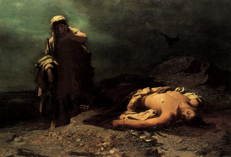 Antigone in front of dead Polynikes (1865),Nikiforos Lytras, National Gallery of Athens